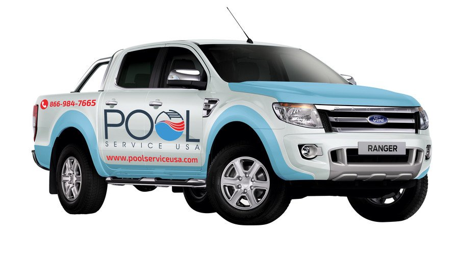 Let our professional graphics designers come up with a beautiful truck wrap for your pool business