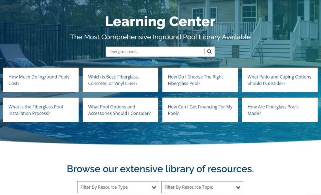 Pool Content Marketing Experts - Created a Learning Center with niche level content specific to the pool industry. Genius!